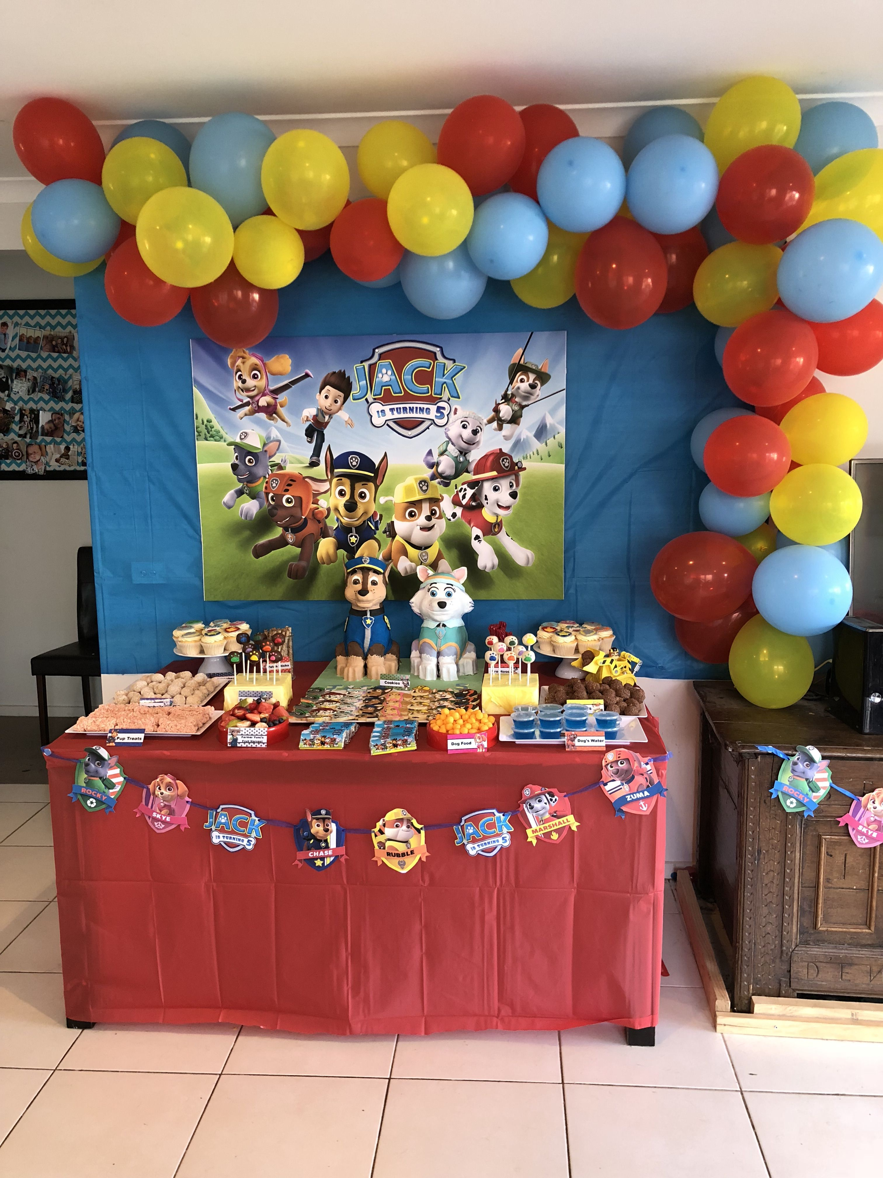 Paw Patrol Party Table Decorations Set Up My First Balloon Garland Paw Patrol Party Birthday Candy Table Paw Patrol Birthday Party
