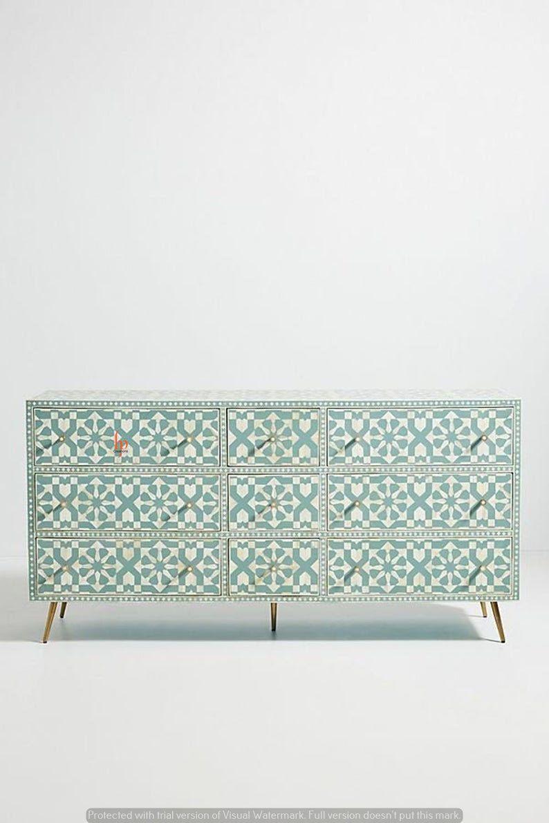 Handmade Moroccan Design Bone Inlay Nine Drawer St
