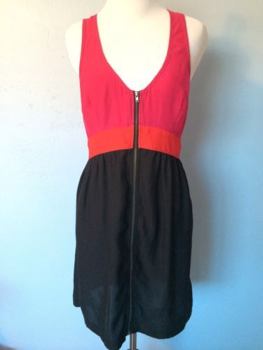 Urban Outfitters UO Pink Red Black Zip Up Party Dress w Opening in Back Size M | eBay $14.99