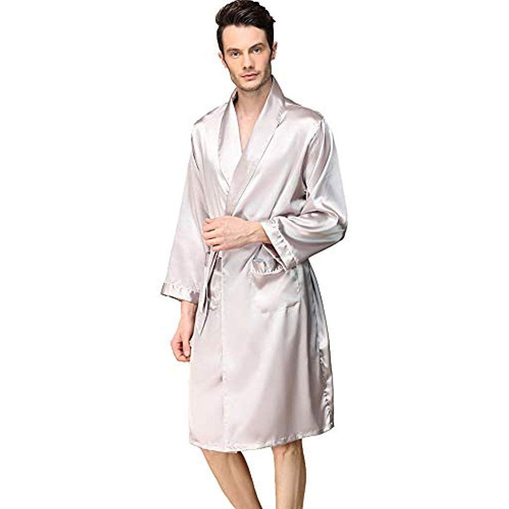 Yanxh Peignoir En Soie Pour Homme Kimono Revers Manches