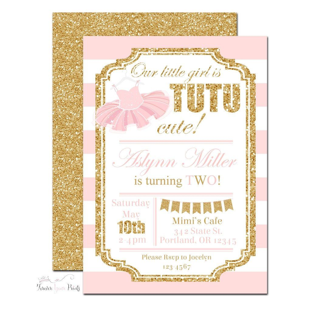 Pink and Gold Tutu Birthday Invitation -TBB002 | Tutu, Birthdays and ...