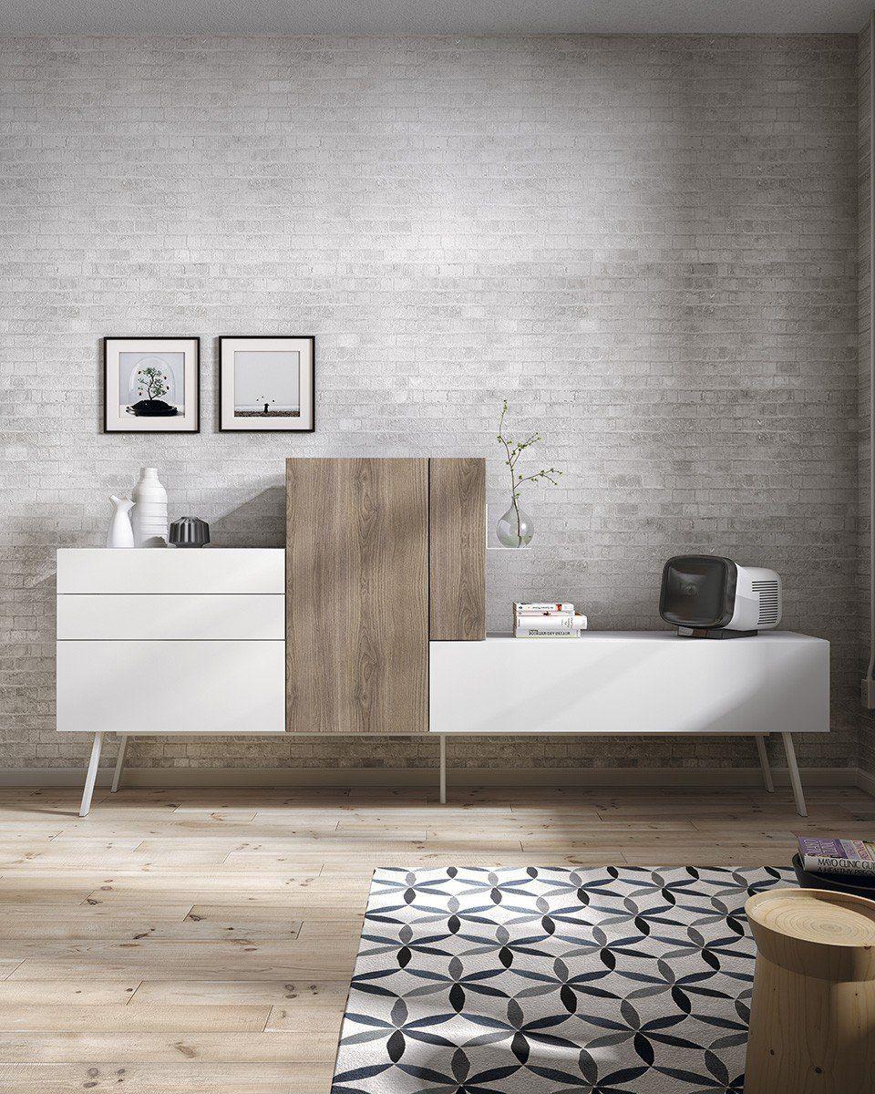 meuble tv mural bello atylia mati re m lamine couleur blanc bois cuisine maison. Black Bedroom Furniture Sets. Home Design Ideas