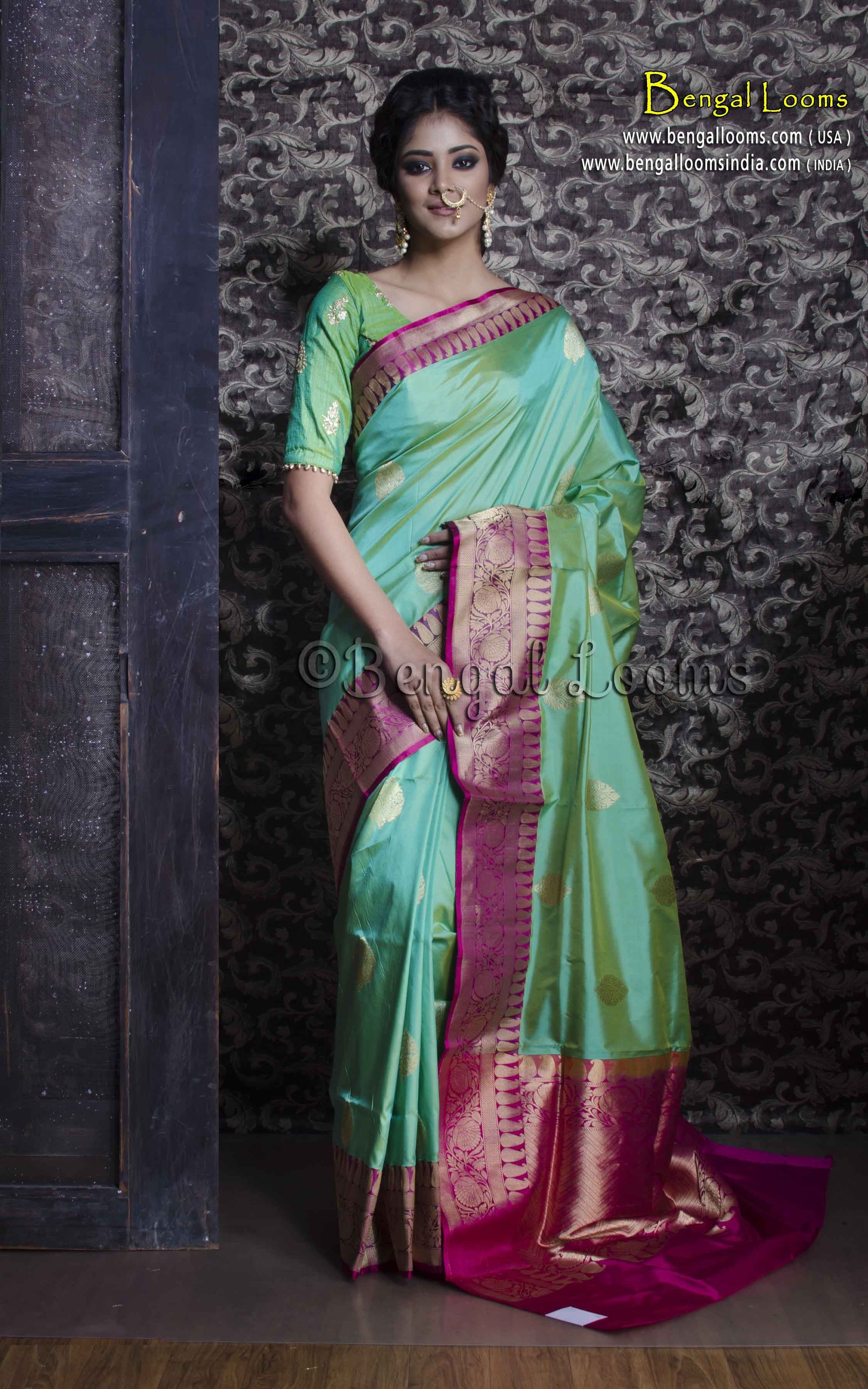 5756f556aa26d8 Pure Handloom Katan Silk Banarasi Saree in Sea Green and Magenta ...