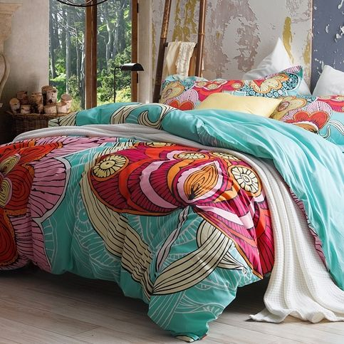 Style Colorful Flower Print Cute Style Traditional Unique Reactive Printed Abstract Design Color Blue Aqua Bedding Duvet Cover Sets Blue Bedding Sets