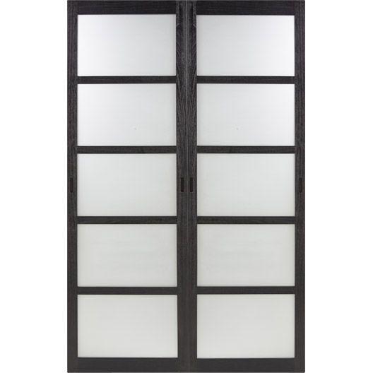 Porte de placard coulissante larg 153 cm x haut 250 cm, wengé