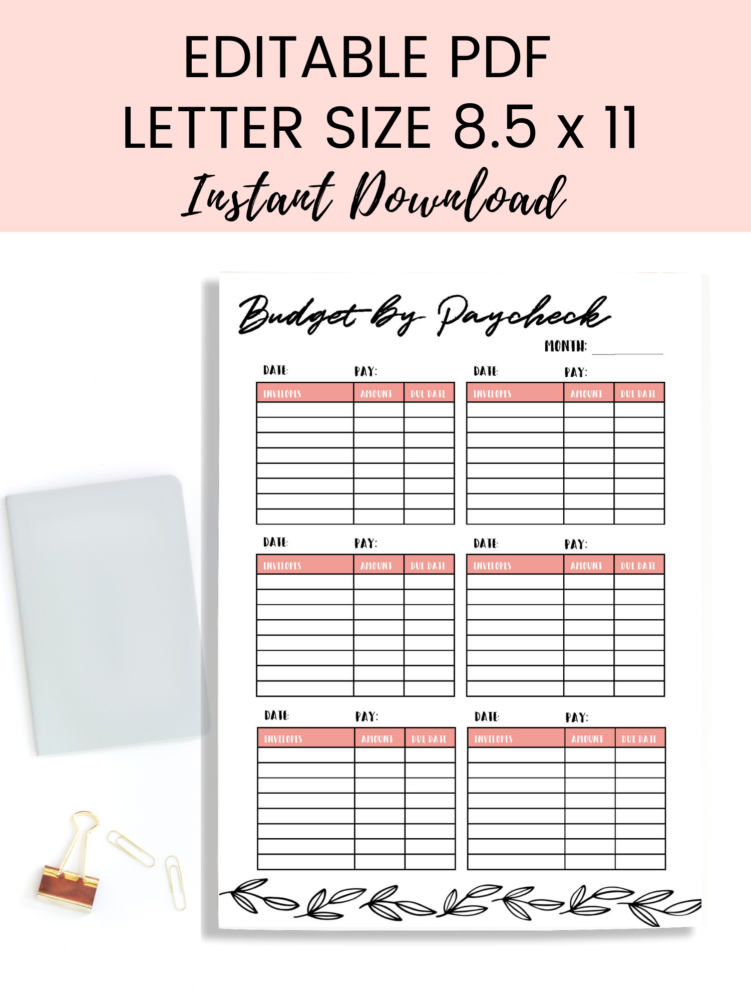 Budget By Paycheck Editable Printable Budget