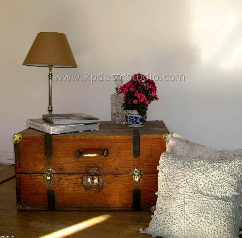 Baul antiguo de madera restauraci n de mueble vintage - Lamparas de mesilla ...
