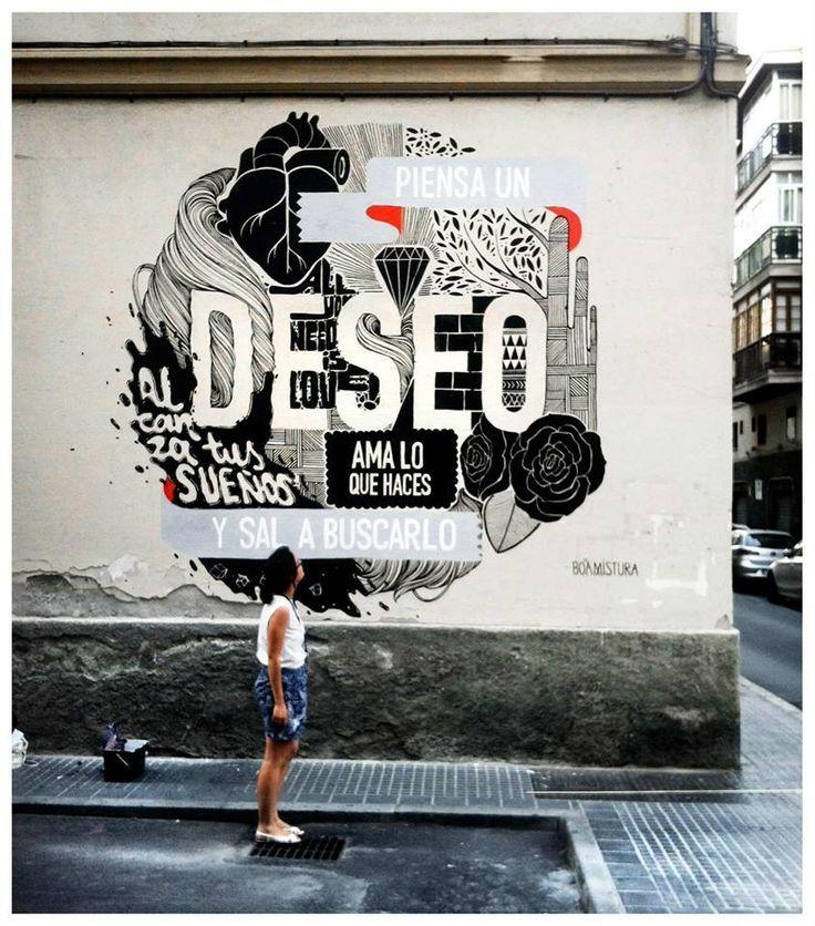 Pide Un Deseo Y Sal A Buscarlo Boamistura Pared Grafiti Diseño Gráfico Minimalista