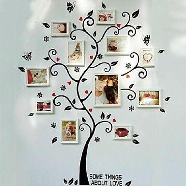 Pegatinas de pared árbol blanco marcos de cuadros, juego de 8 ...