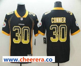 Men s Pittsburgh Steelers  30 James Conner Black 2018 Fashion Drift Color  Rush Stitched NFL Nike Limited Jersey 1f53ef29e