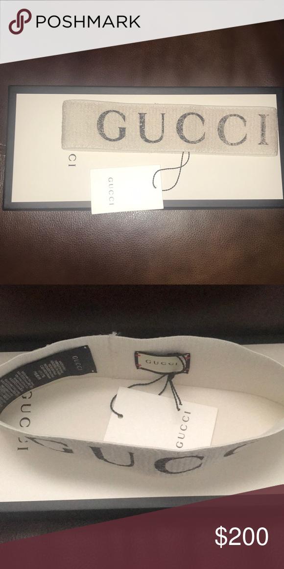 White Elastic Gucci headband White elastic with black Gucci print  Accessories Hair Accessories 95b68950777