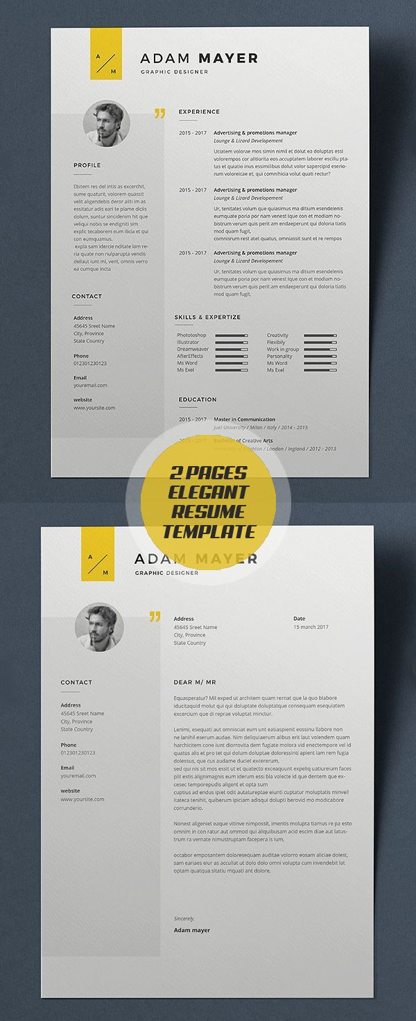 elegant 2 pages resume template and cover letter print ready