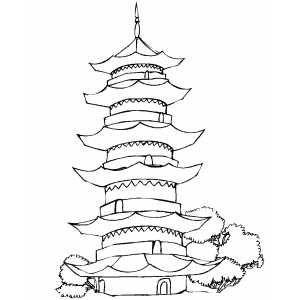 Japanese Art Coloring Pages Big Pagoda Free Coloring Sheet