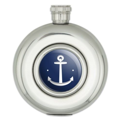 Anchor Sailing Sailor Navy Nautical Round Stainless Steel 5oz Hip Flask Flask Hip Flask All In One