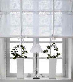 JULIA WEISS Raffrollo 160x120cm Vorhang Raffgardine Landhaus Shabby  LEINENOPTIK Photo
