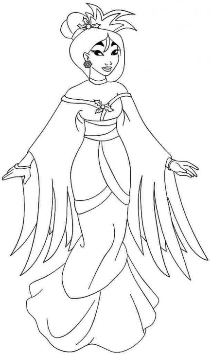 Lovely Princess Mulan In Traditional Dress Coloring Page | Mulan ...