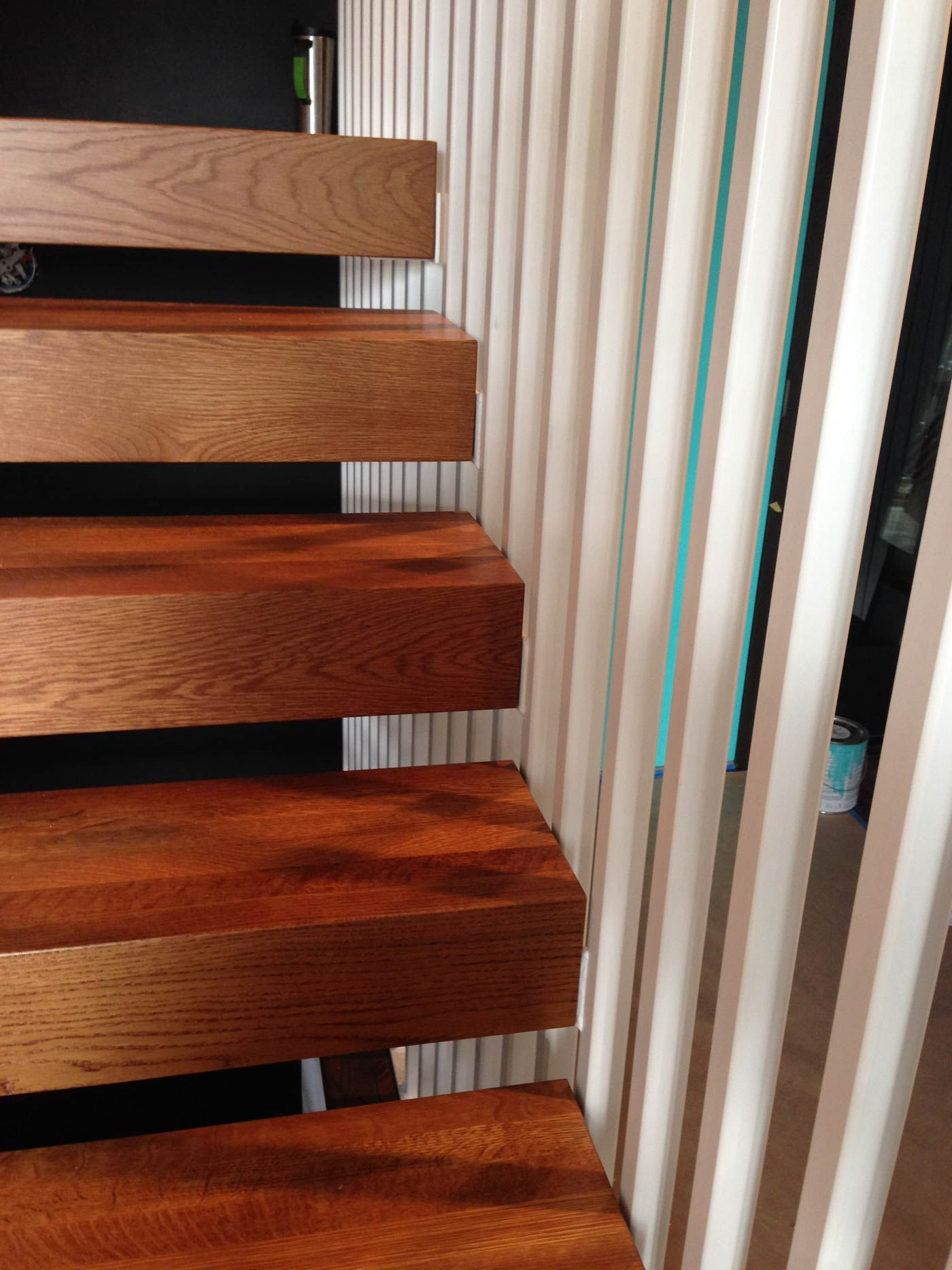 Oak Stair Trends Tie In With One Inch Square Tube Steel Verticals In New  Staircase Design | Hammer U0026 Hand
