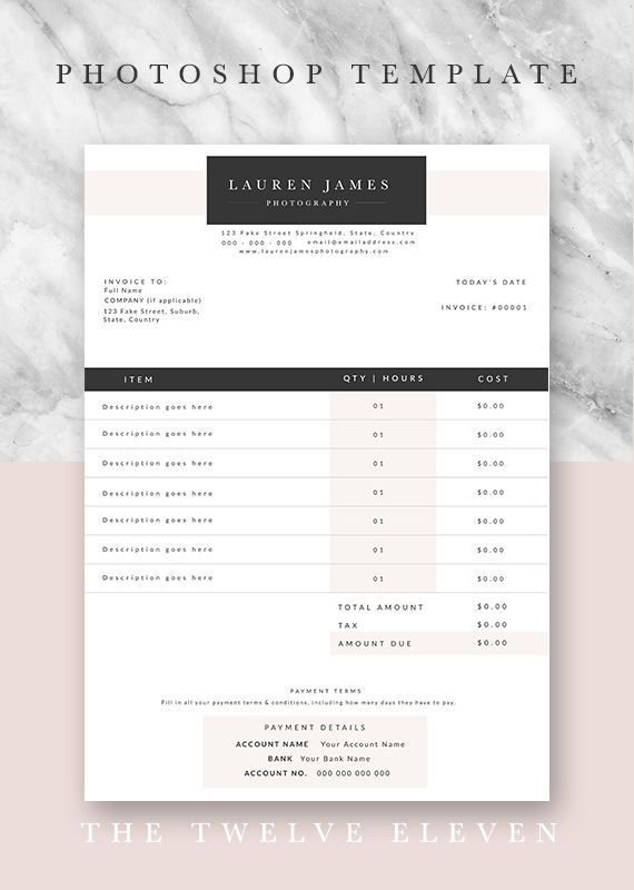 Invoice Template Business Forms Stationary Document Template Photoshop Editable Customisable Design Premade Modern Elegant Photography Quote Template Invoice Design Photography Marketing Boards