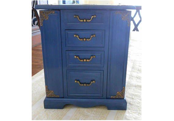 Royal Blue Jewelry Box Blue Jewelry Armoire Jewelry Storage