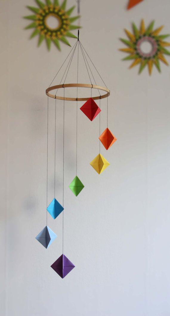 Rainbow Colored Origami Diamond MobileOrigami Mobile Baby Home Decor