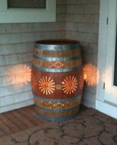 porch light made from old wine barrels; first you have to drink the wine ;)