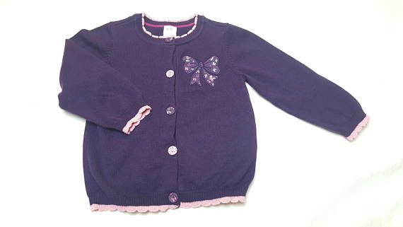 9257f1b31 Baby Girl Cardigan Sweater Size 9-12 Months by H M Purple with Pink ...