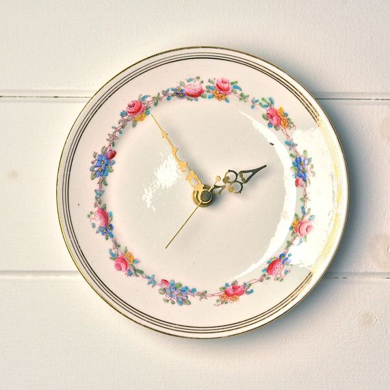 Blue yellow and pink Ring of Roses  Vintage china tea plate clock £25.00