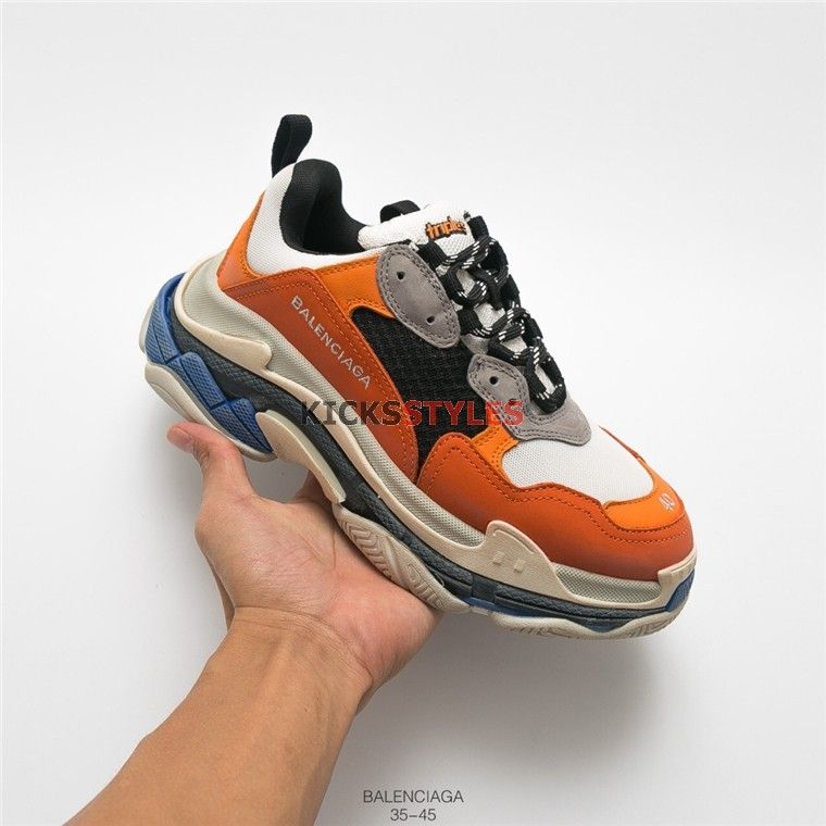 5f48557a349 Balenciaga Triple S Sneaker Trainers Orange Blue