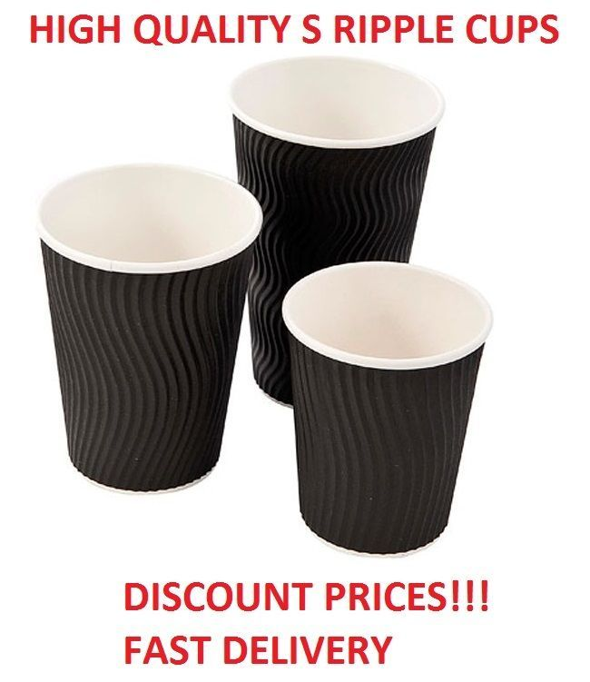 Black 12 16oz S Ripple Disposable Hot Paper Takeaway Drinks Cups Tea