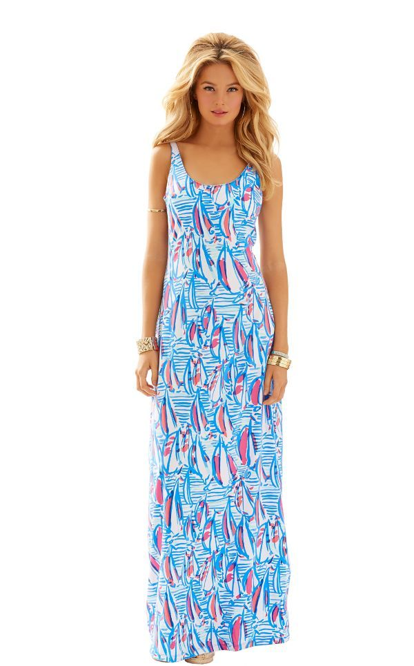 Palm Maxi Tank Dress - Lilly Pulitzer Resort White Red Right Return