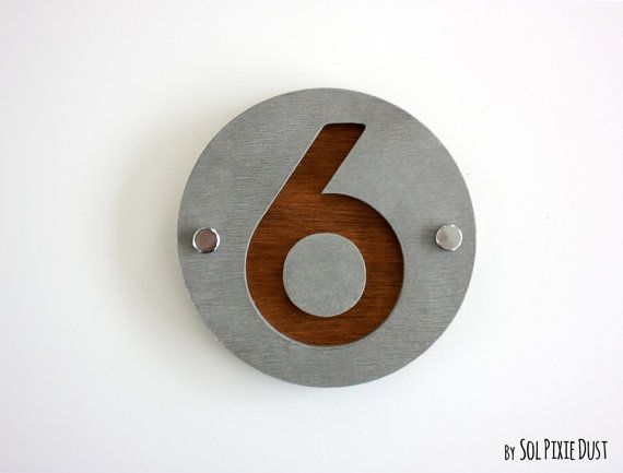 Modern House Numbers, One Number Round Concrete With Marine Plywood    Contemporary Home Address  Sign Plaque   Door Number