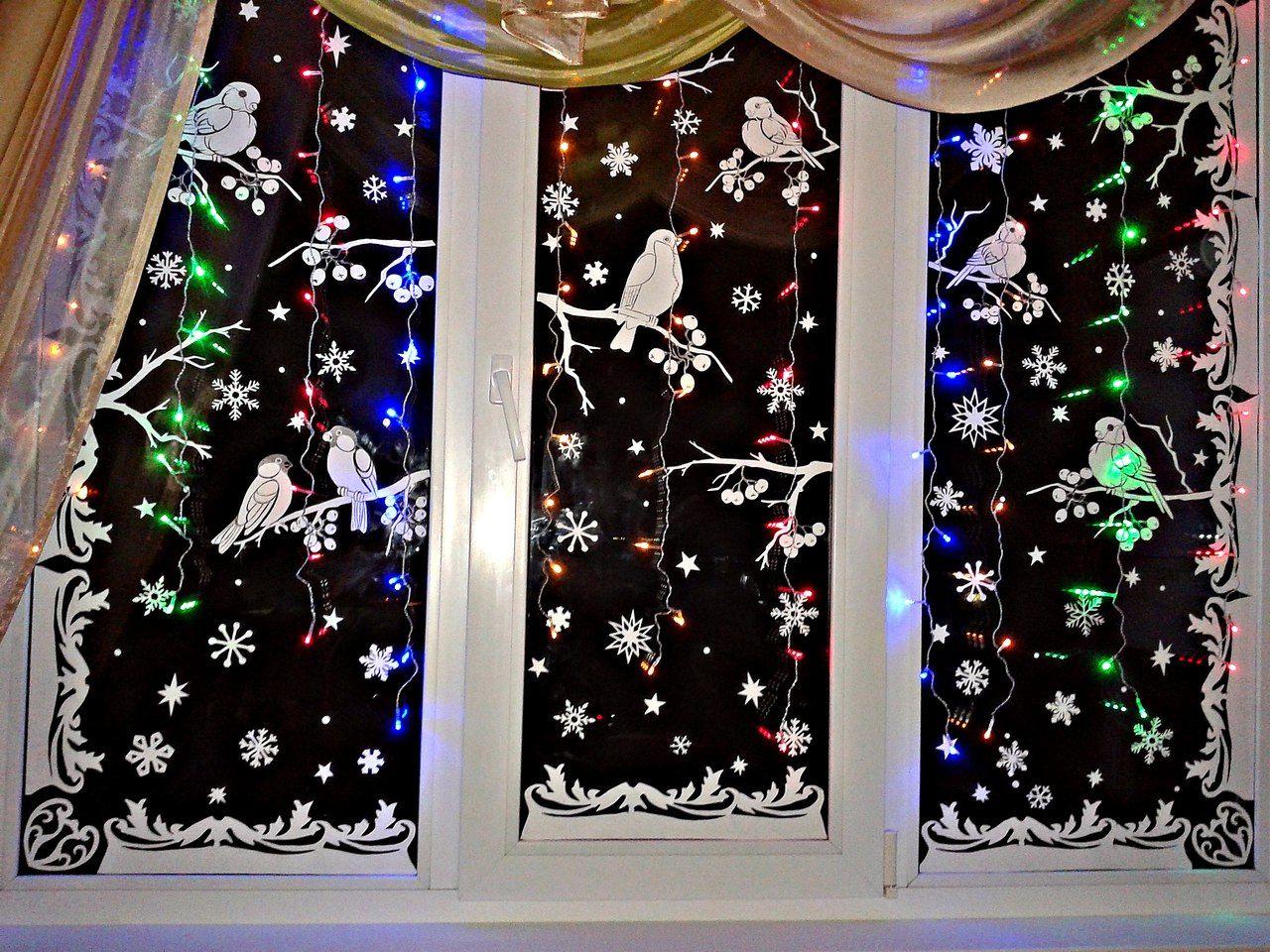 Картинки с новым годом украшении на окна