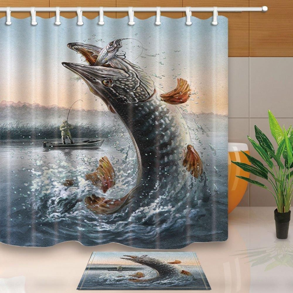 Musky Fishing Bath Shower Curtain And Matching Rug Musky Fishing
