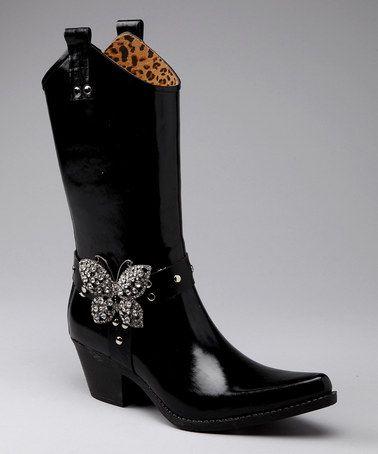 Nomad Footwear Black Butterfly Flutter Cowboy Rain Boot | Cowboy ...