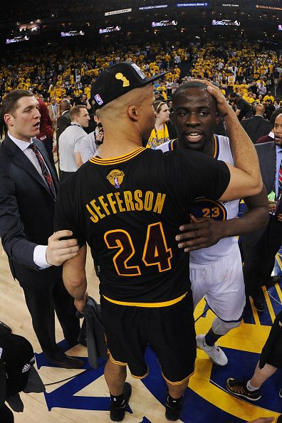 Richard Jefferson of the Cleveland Cavaliers embraces Draymond Green of the Golden  State Warriors after winning Game Seven of the 2016 NBA Finals on. 12a6d9157