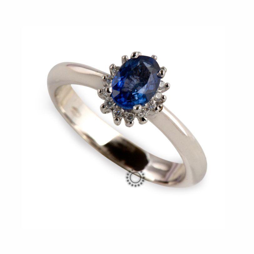 Υπέροχο δαχτυλίδι από λευκόχρυσο Κ18 ροζέτα με μπλε ζαφείρι  amp  διαμάντια  μπριγιάν  198f12df7ab