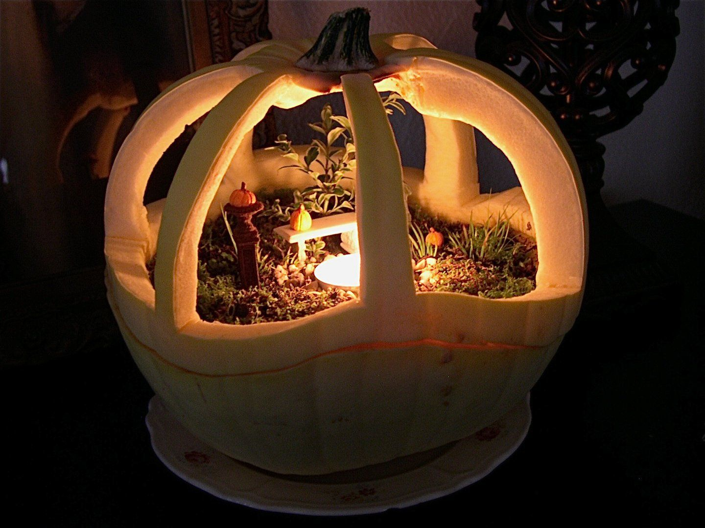Turn your pumpkin into a spooky, little, nighttime scene this year!