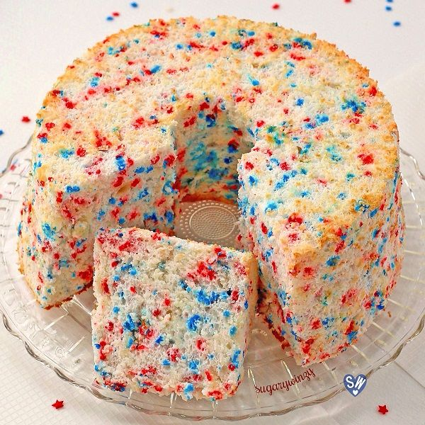 Wonderfully light and heavenly, non-fat angel food cake is a great option to enjoy cake and still keep tabs on your waistline.  Toss in some red and blue confetti sprinkles and you have a festive f…