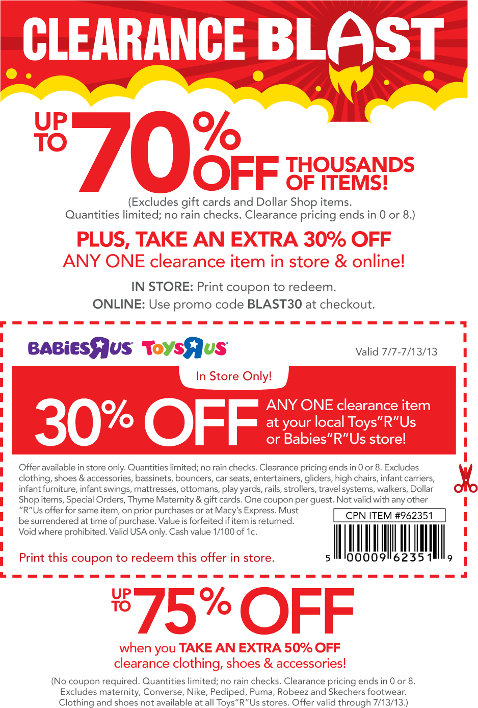 Baby R Us Printable Coupon : printable, coupon, Pinned, Extra, Single, Clearance, Babies, Online, Promo, BLAST30, Coupon, The…, Apps,, Print, Coupons,, Coupons