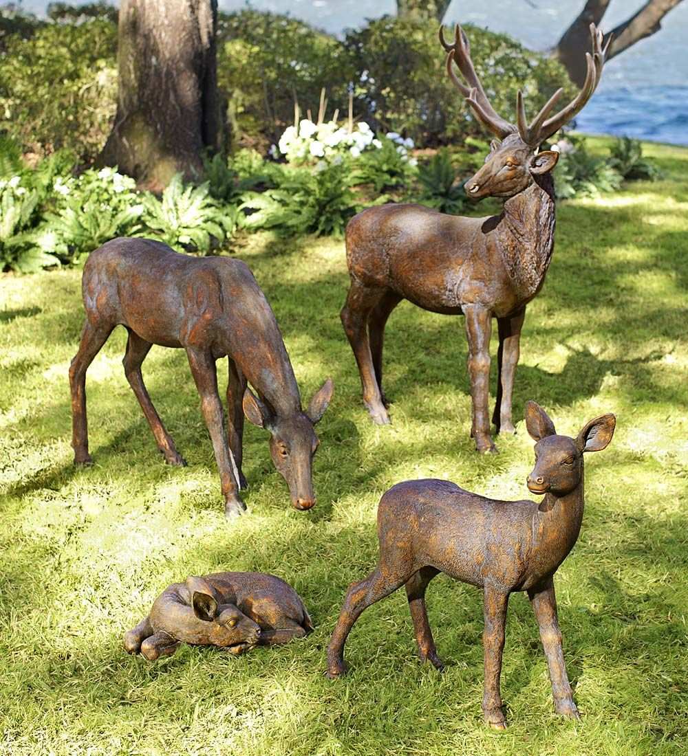 Our Striking Fiberglass Deer Garden Statuary Adds A Gentle Pastoral Feeling To Your Landscape These Depictions Of An Adul Deer Garden Statuary Garden Statues