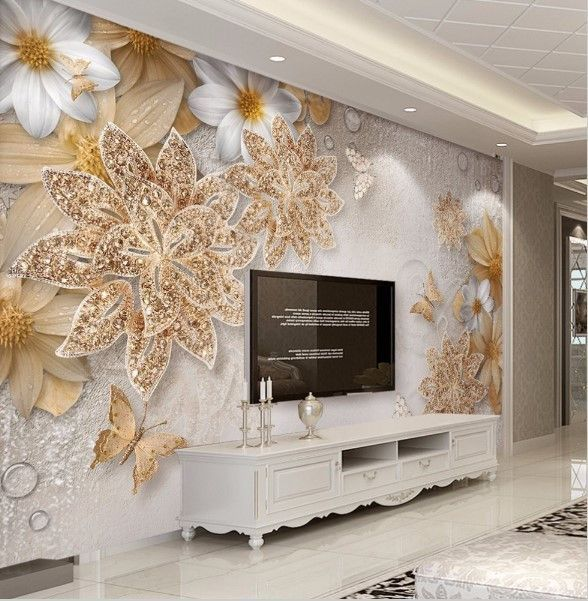 3D Elegant Gold Jewelry Floral Design Wallpaper Customized