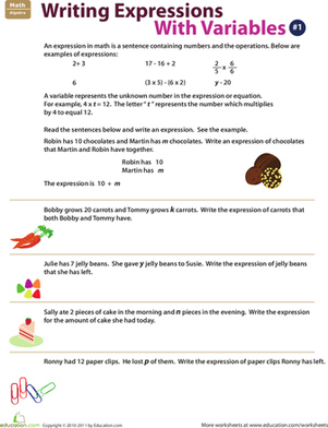 Writing Expressions with Variables: 1 | Writing expressions ...