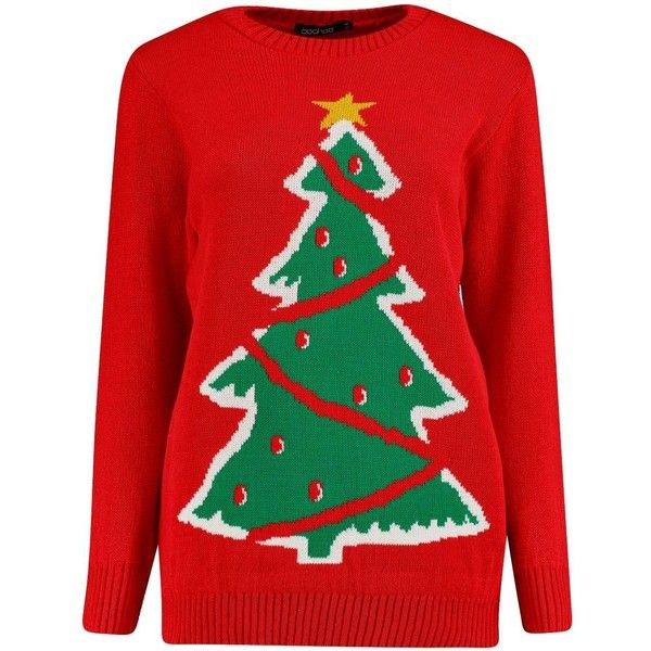 Isobel Christmas Tree Christmas Jumper 1 26 Liked On Polyvore Featuring Tops Sweaters Red Swea Christmas Tree Sweater Red Christmas Sweater Xmas Sweater
