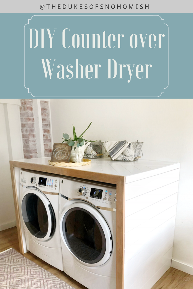 How I Built A Freestanding Counter Over My Washer And Dryer Laundry Room Countertop Laundry Room Layouts Laundry Room Update