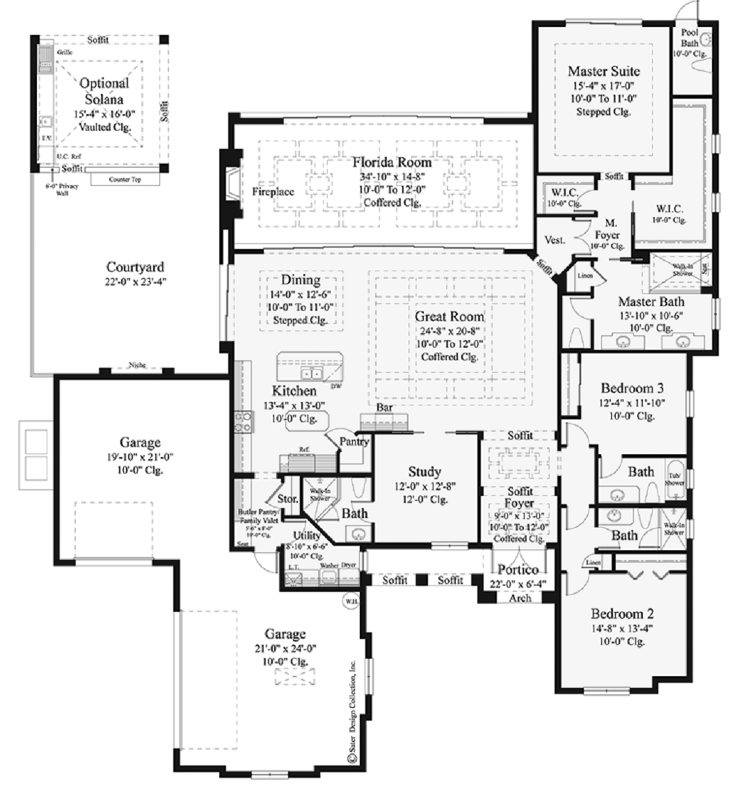 Open floor plans for single story mediterranean modern for Single story open floor plans