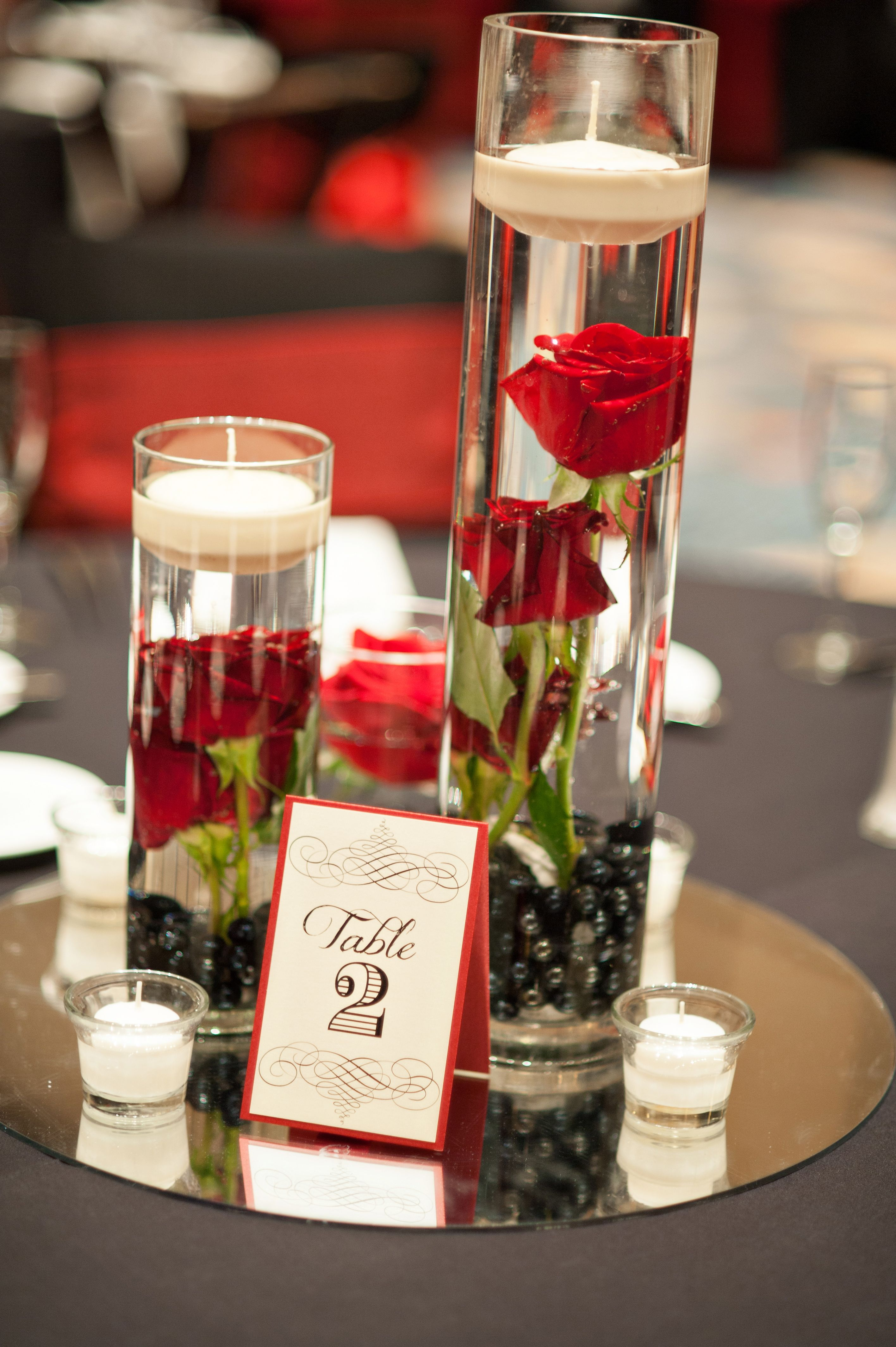 Image result for wedding table decor red black centerpiece