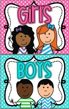 Boy and girl restroom signs bright polka dot classroom organization classroom management and for Boy and girl bathroom door signs