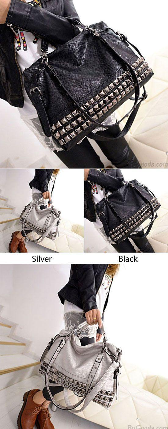 Which color do you like? Fashion Rivets Women Leather Shoulder Bag Punk Square R...,  #Bag #Color #Fashion #Leather #Punk #Pursesandhandbagsforteenscasual #rivets #Shoulder #Square #women