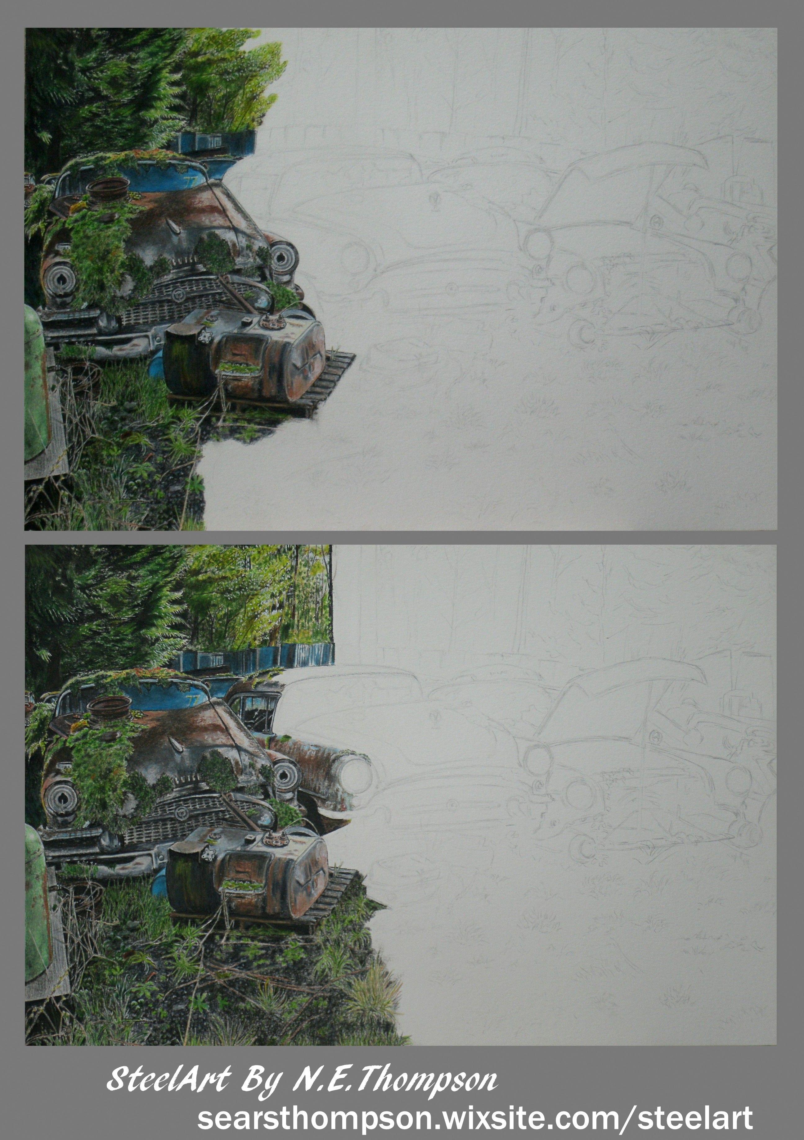 Art Salvage Yard Drawing Car Art Work In Progress Steelart