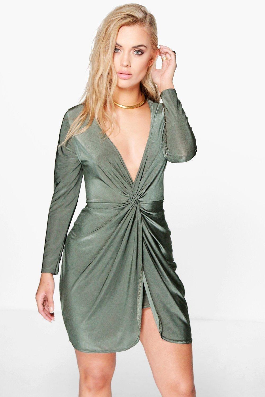 Plus Sarah Knot Front Midi Dress Midi Dresses Boohoo And Curvy Dress